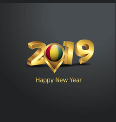 Happy new year 2019 golden typography with guinea vector