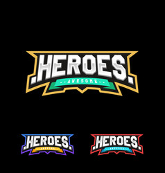 heroes or superhero sport text logo isolated for vector image