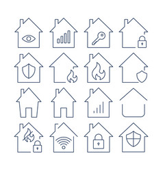 houses icons set set icons in form vector image