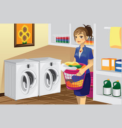 Housewife doing laundry vector