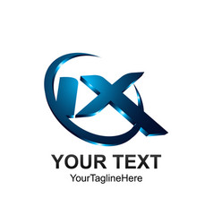 initial letter ix logo template colored blue vector image