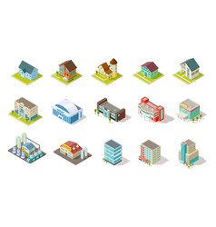 isometric buildings city urban infrastructure vector image