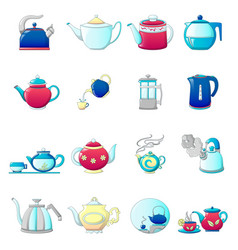 kettle teapot icons set cartoon style vector image