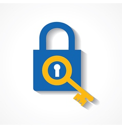 Key as a search icon on lock stock vector