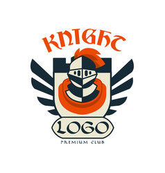 knight logo premium club vintage badge or label vector image