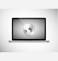 Laptop with earth globe on screen vector