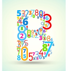 Letter B colored font from numbers vector