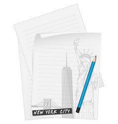 line paper with blue pencil vector image