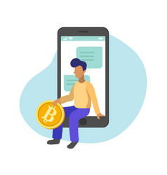 man managing gold bitcoins in smartphone app flat vector image