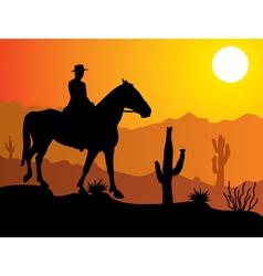 man on horse in desert vector image