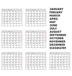 Material and template for calendar flat design vector