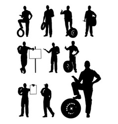 Mechanics gesture silhouette vector