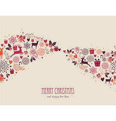 Merry Christmas vintage elements composition file vector image