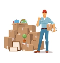 Move service man Ok hand box vector