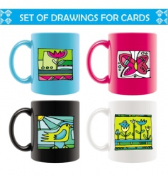 mugs with summer drawings vector image