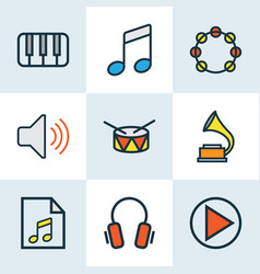 Music colored outlines set collection of vector