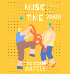 music time october battle invitation flat poster vector image