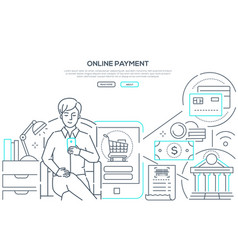 online payment - modern line design style web vector image