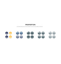 Proportion icon in different style two colored vector
