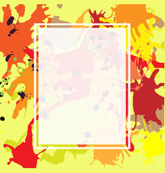 Red orange maroon ink splashes ellipse frame vector