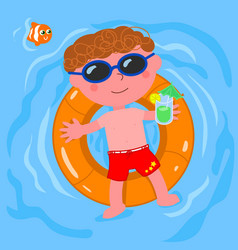 Relaxed child in water vector