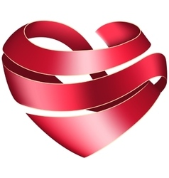 Ribbon twisted in the shape of heart vector image