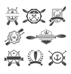 Rowing logo and paddle badges vector image