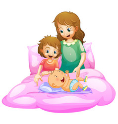 Scene with mother and kids in bed vector