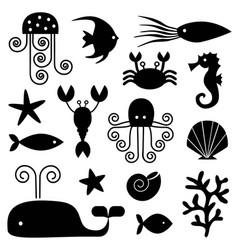 sea life black silhouettes vector image