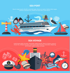 sea voyage banners set vector image