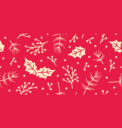 seamless christmas pattern with spruce holly vector image
