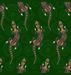 Seamless pattern lizards australian art vector