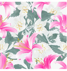 Seamless texture spring flowers lily pink daylily vector