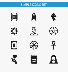 Set of 12 editable faith icons includes symbols vector