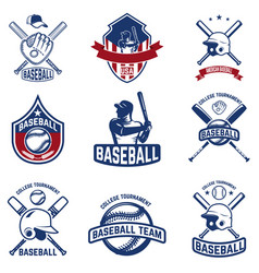 set of baseball emblems baseball tournament vector image