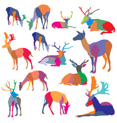 set of colorful mosaic deer silhouettes vector image