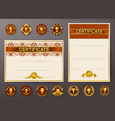 set of elegant templates of diploma with lace vector image