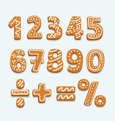 set of numbers in shape of christmas gingerbread vector image