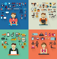 Set of professions Photographer barber accountant vector