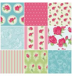 Set seamless floral rose backgrounds vector