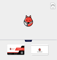 simple cute fox logo template free business card vector image