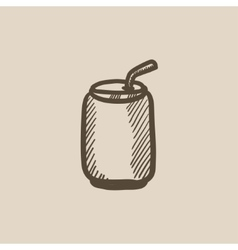 Soda can with drinking straw sketch icon vector image