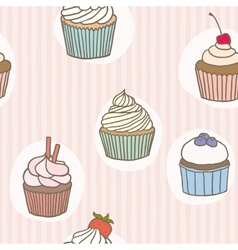Stripes cupckes pattern vector image