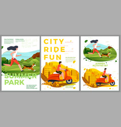 summer posters set - running and riding vector image