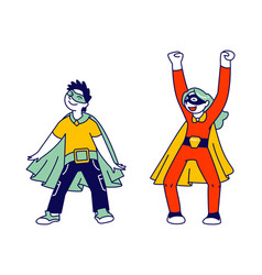 Superhero kids friends playing and having fun vector