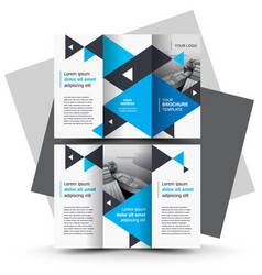 Tri-fold brochure design template blue color vector