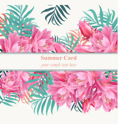 tropical floral card or banner summerl vector image