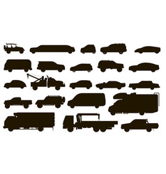 urban cars set automobiles type silhouettes vector image