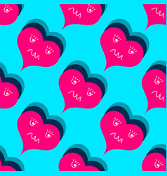valentines day seamless pattern red hearts vector image