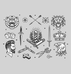 Vintage tattoos monochrome set vector